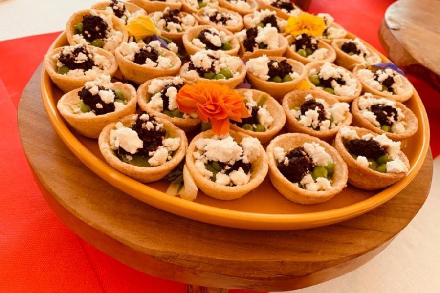 Mini tartelettes à la Grecque - Petits pois menthe Féta